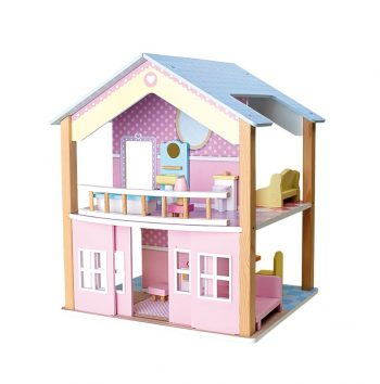 Casa delle Bambole Tetto Blu due piani girevole Legler