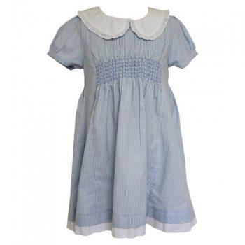 Vestito in Lino a Righe Celeste e Bianco Powell Craft